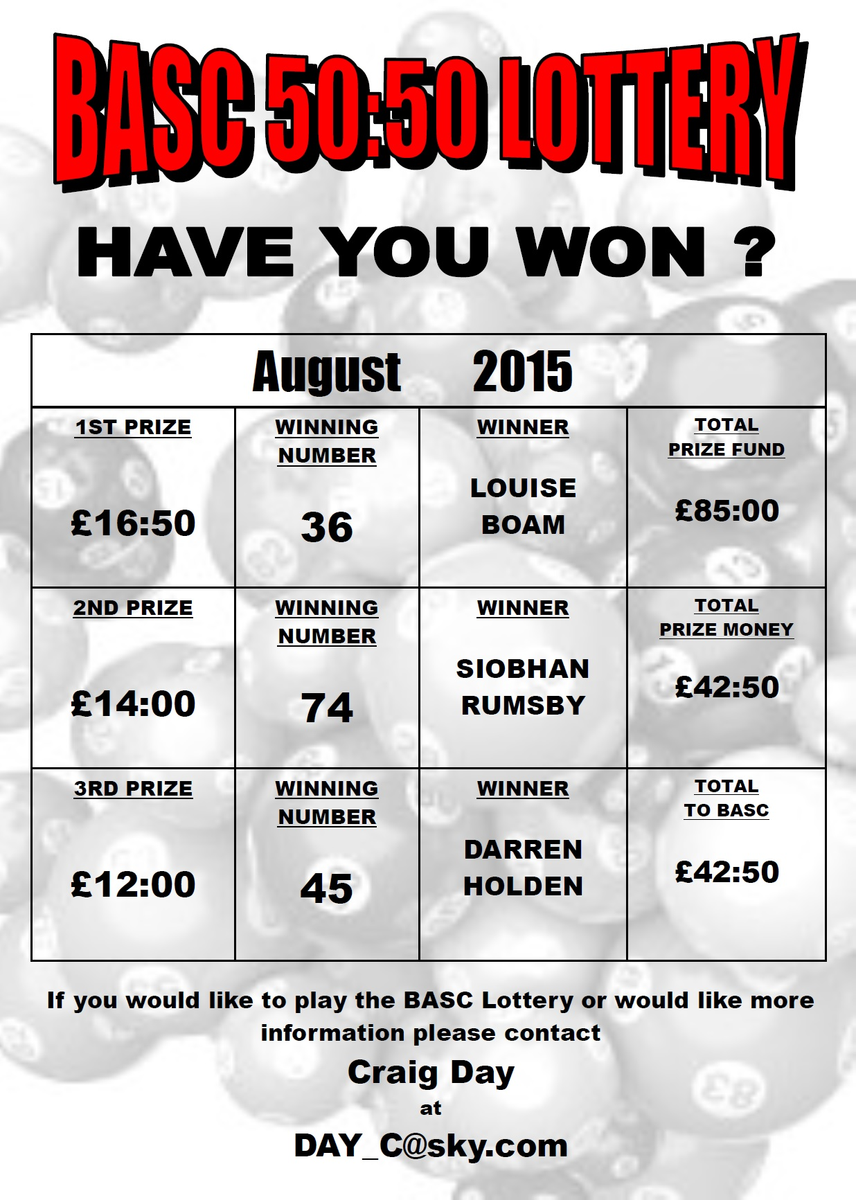BASC 5050 Lottery Winners August 2015