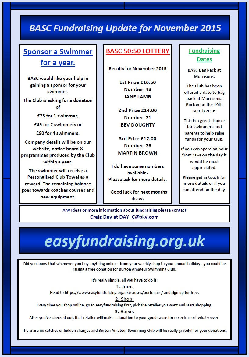BurtonASC Fundraising Update November 2015
