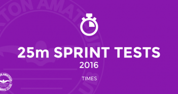 BurtonASC 25m Sprint Tests 2016 Times