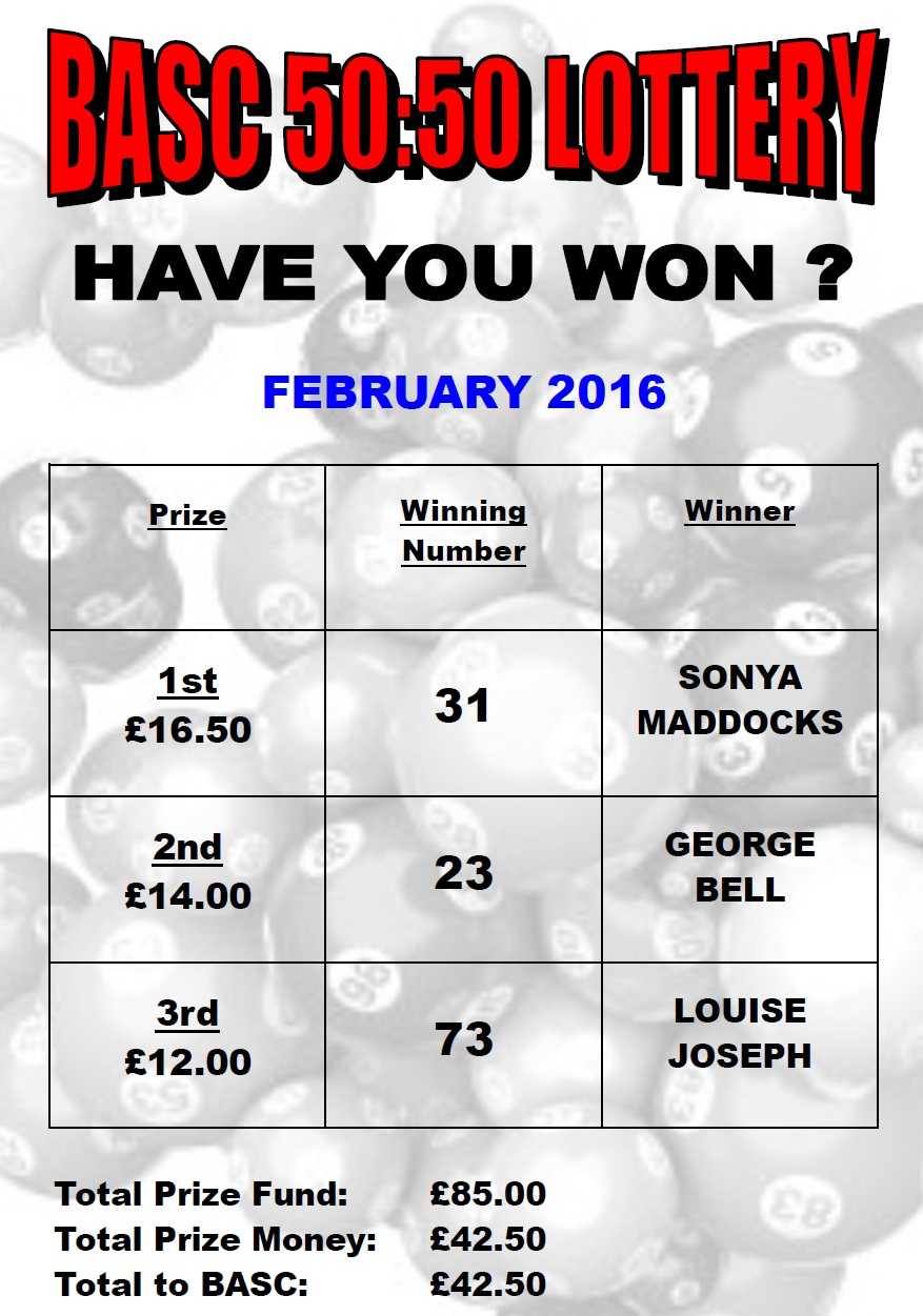 BASC 5050 Lottery Winners February 2016