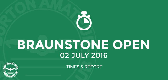 Braunstone Open Meet - July 2016 Times and Report BurtonASC