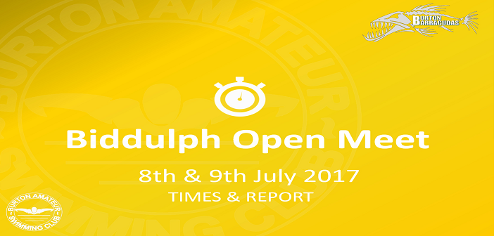 Biddulph Open Meet : 8th and 9th July 2017 – Times and Report