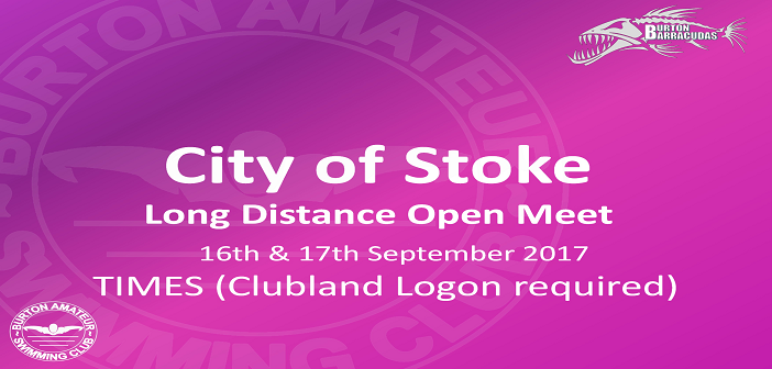 City of Stoke Long Distance Open Meet: September 16th & 17th 2017 – Times