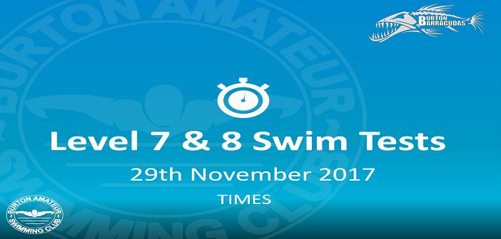 Level 7 8 Swim Tests 29th November 2017 Times