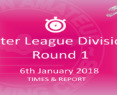 Leicester Winter League Division One : January 2018 Round 1- Times and Report