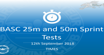 BASC Sprint Tests 25m and 50m 12th September 2018