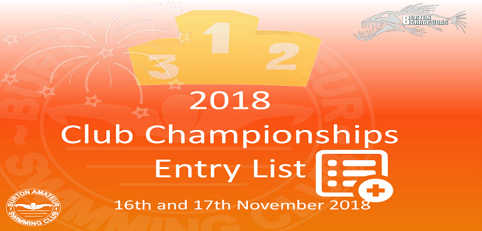 2018 Club Championships Entry List