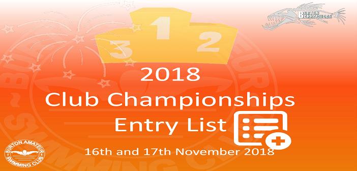 2018 Club Championships Entry List