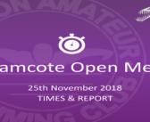 Bramcote Open Meet 2018 : Times & Report