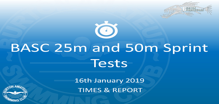 BASC Sprint Tests 25m and 50m 16th January 2019