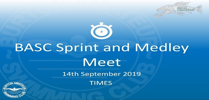 BASC Sprint and Medley Meet 14th September 2019
